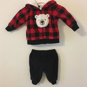 Newborn Plaid Polar Bear Jacket and Pants Set